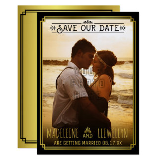 Save the Date Retro Black Gold Deco Wedding Photo Card