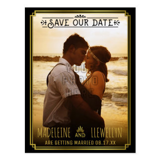 Save the Date Retro Black Gold Deco Wedding Photo Postcard