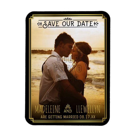 Save the Date Retro Black Gold Deco Wedding Photo Rectangular Photo Magnet
