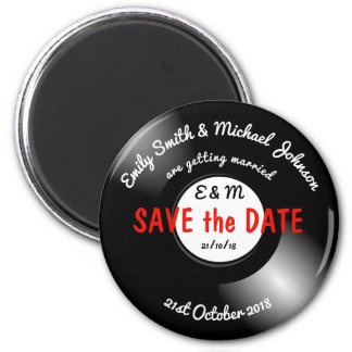 SAVE the DATE Retro Vinyl Record Disk Magnet