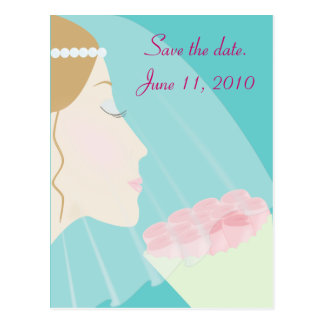 Save The Date - Rose Bride Postcard