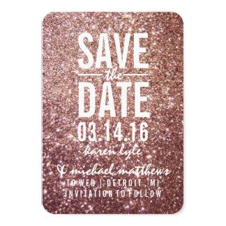 Save the Date | Rose Glitter Fab 9 Cm X 13 Cm Invitation Card