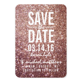 Save the Date | Rose Glitter Fab Card