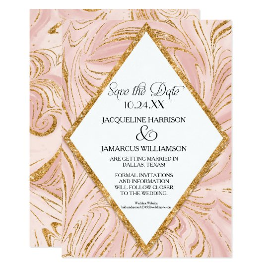 Save the Date Rose Gold Faux Glitter Marble