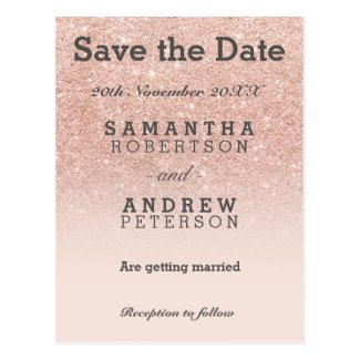Save the Date rose gold faux glitter pink postcard