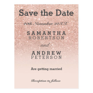 Save the Date rose gold glitter pink ombre Postcard