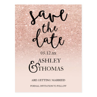 Save the Date Rose gold glitter pink ombre script Postcard