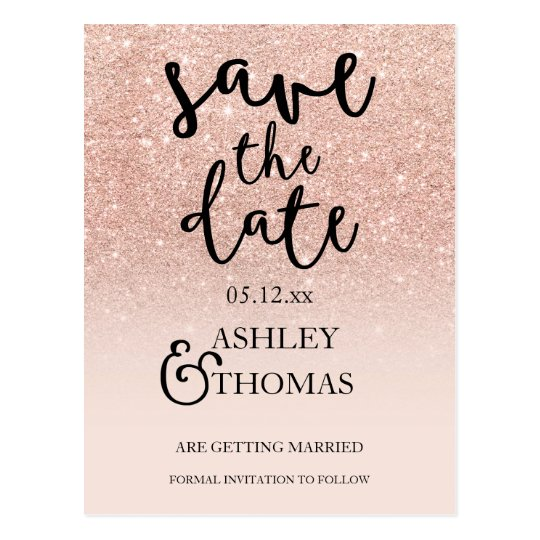 Save the Date Rose gold glitter pink ombre