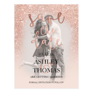 Save the Date rose gold glitter script photo Postcard