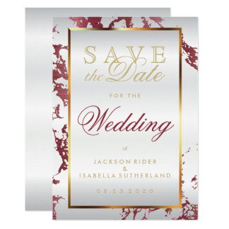 Save the Date Rose Gold Marble, White and Gold Card