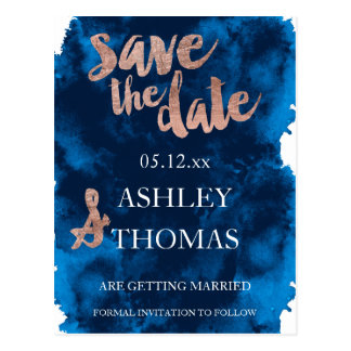 Save the Date Rose gold typography navy watercolor Postcard
