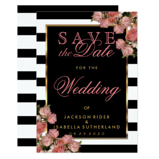 Save the Date Rose Gold with Black and White Card
