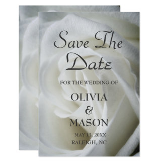 Save the Date - Rose White Textured Card