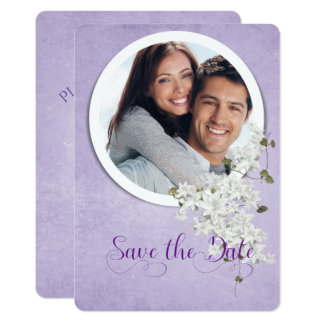 save the date-round frame on purple card