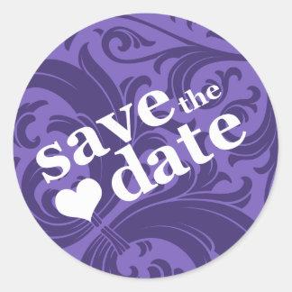 save the date round sticker