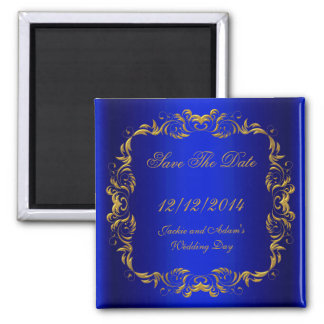 SAVE THE DATE  Royal Blue Gold Square Magnet
