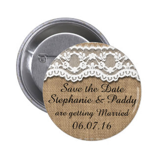 Save the Date, Rustic Burlap and Lace 6 Cm Round Badge