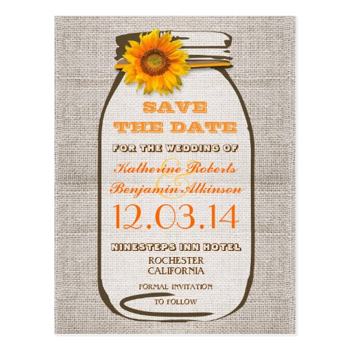 save the date rustic burlap mason jar sunflower post cards