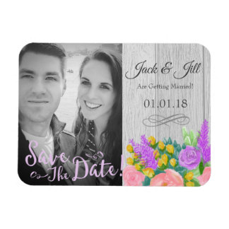 Save The Date Rustic Purple Flower Photo Magnet