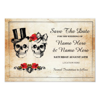 Save The Date Rustic Skulls Roses Card