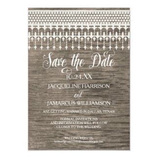 Save the Date Rustic Vintage Lace Wooden Fence 13 Cm X 18 Cm Invitation Card