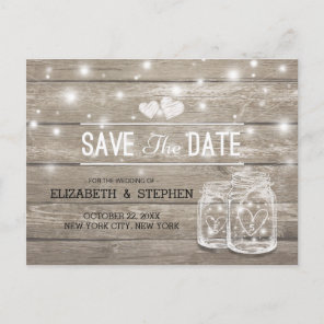 Save The Date Rustic Wood Mason Jar String Lights Announcement Postcard