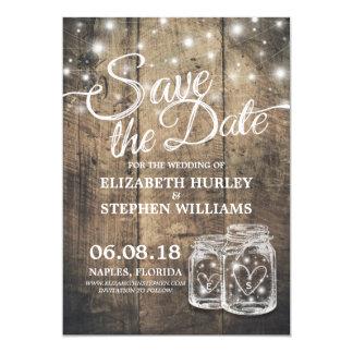 Save The Date Rustic Wood Mason Jar String Lights Card