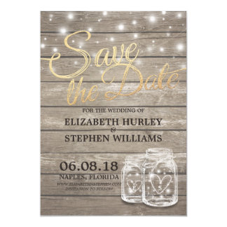 Save The Date Rustic Wood Mason Jar String Lights Card