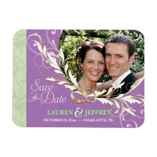 Save the Date - Sage & Lavender Photo Magnets