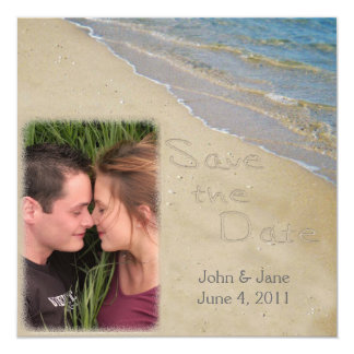"""Save the Date - Sand and Water Custom Photo 5.25"""" Square Invitation Card"""