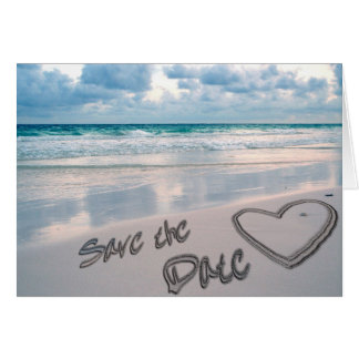 Save the Date Sand Heart Writing Greeting Card