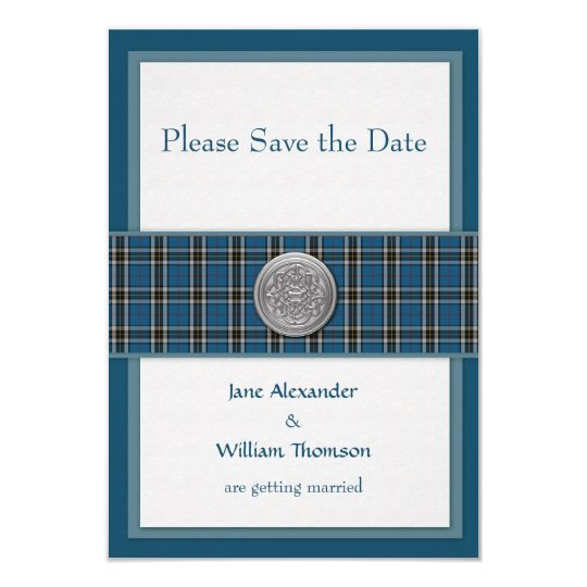 Save the Date Scottish Thomson Dress Tartan (Blue) Card