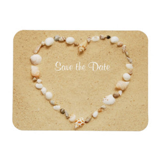 Save the Date Seashell Heart Flexible Magnet