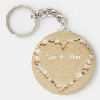 Save the Date Seashell Heart Keychain