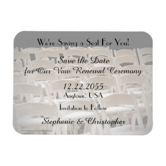 Save the Date Sepia Vow Renewal Chairs Magnet Rectangular Photo Magnet