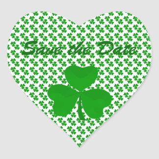 Save the Date Shamrock Round Stickers