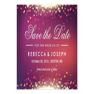 Save the Date Shimmer Gold Glitter Sparkle Dots Magnetic Invitations