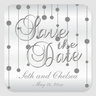 Save the Date Silver and White Satin | Personalize Square Sticker