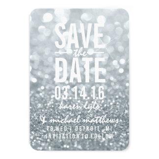 Save the Date   Silver Lit Glitter Fab 9 Cm X 13 Cm Invitation Card
