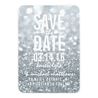 Save the Date   Silver Lit Glitter Fab Card