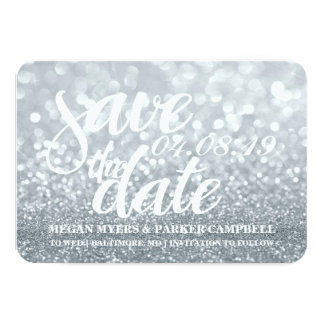 Save the Date | Silver Lit Glitter Fab II Card