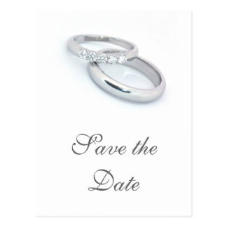 Save the Date/Silver Wedding Bands Postcard
