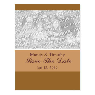 Save the Date simple brown Postcard