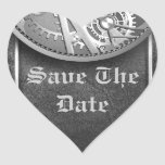 save the date sliver steampunk seals heart stickers