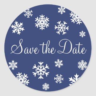 Save the Date Snowflakes Envelope Sticker Seal