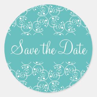 Save the Date Spiral Swirls Envelope Sticker Seal