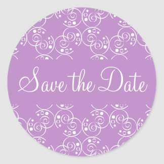 Save the Date Spiral Swirls Envelope Sticker Seal