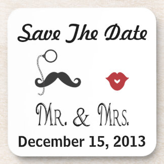 Save the Date Square Coaster Set