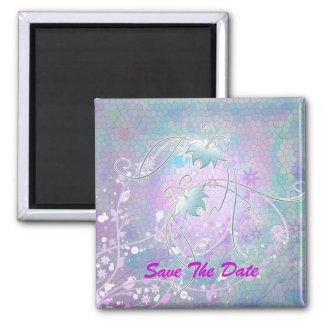 Save The Date Stained glass butterflies Square Magnet