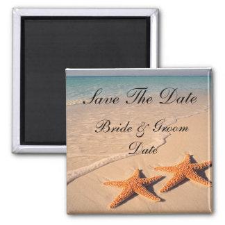 Save the Date Starfish Beach Wedding Magnets